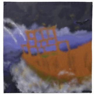 Old Boat in Storm Art Napkin