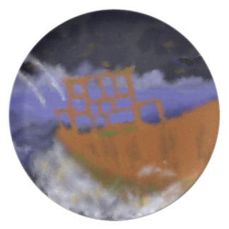 Old Boat in Storm Art Plate