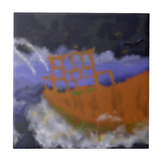 Old Boat in Storm Art Tile
