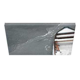 Old Boat on the Ice Canvas Print