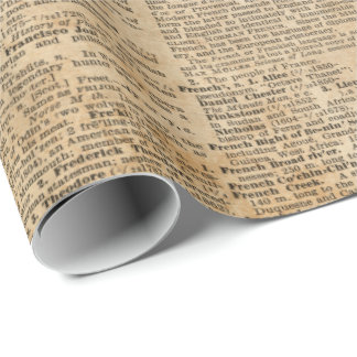 Old Book Page Vintage Design Glossy Wrapping Paper