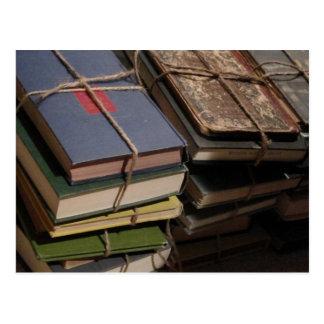 Old book stack postcard