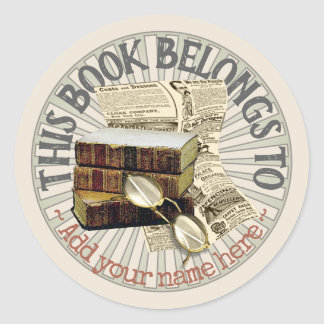 Old Books & Spectacles Bookplate Sticker