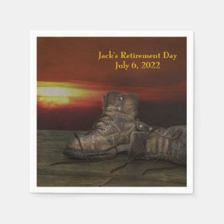 old boots and sunset for Retirement Party Paper Napkins