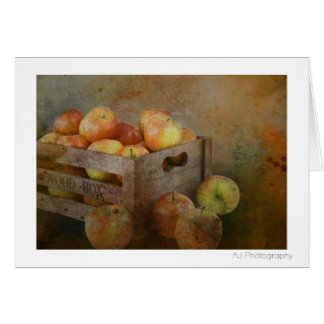 old box crate of apples postcard