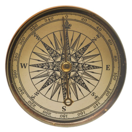 Ring In The Steampunk Decor To Pimp Up Your Home: Old Brass Compass Steampunk Victorian-style Plate