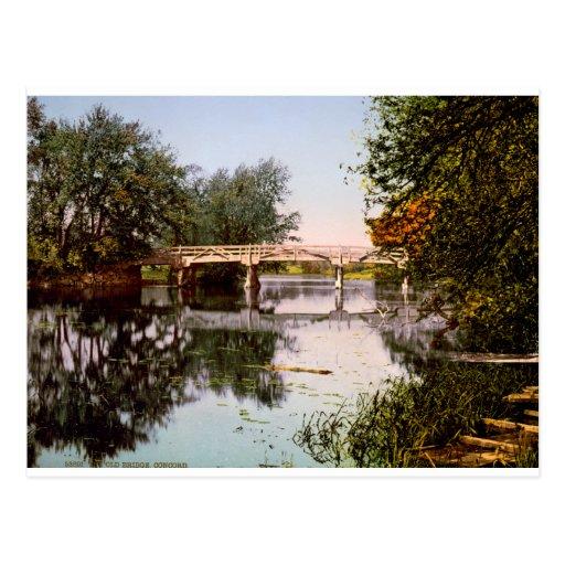 Old Bridge on River Concord, Mass. USA c1900. Postcards