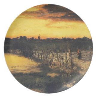Old Bridge Over Hook Pond - Thomas Moran (1907) Party Plates