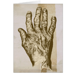 Old Brown Hand Grunge Drawing Card