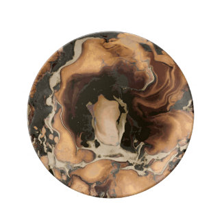 Old Brown Marble texture Liquid paint art Plate
