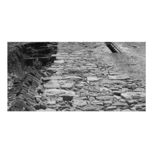 Old building. Tall Stone Wall. Photo Card