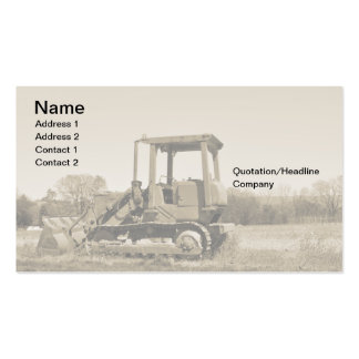 old bulldozer business card template