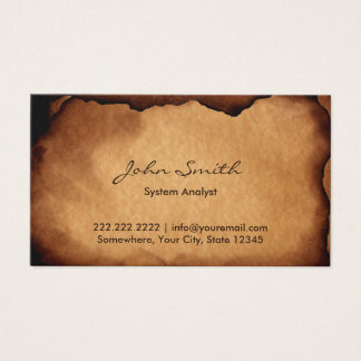 Old Burned Paper System Analyst Business Card