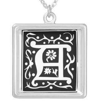 Old Calligraphy Letter A Monogram Silver Necklace