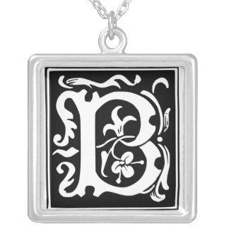 Old Calligraphy Letter B Monogram Silver Necklace