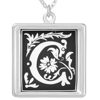 Old Calligraphy Letter C Monogram Silver Necklace