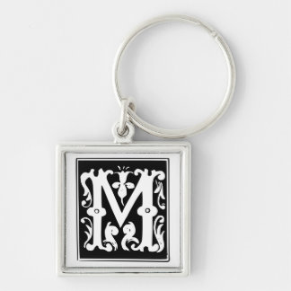 Old Calligraphy Letter M Monogram Keychain