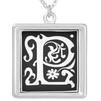 Old Calligraphy Letter P Monogram Silver Necklace