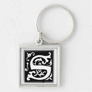 Old Calligraphy Letter S Monogram Keychain