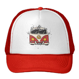 old car - red trucker hats