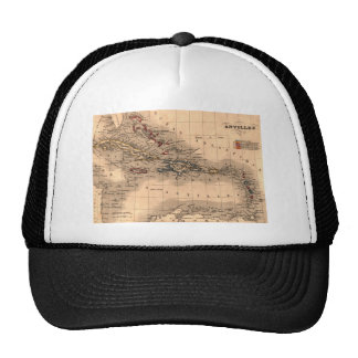 Old Caribbean Map Dive Shirt Hats