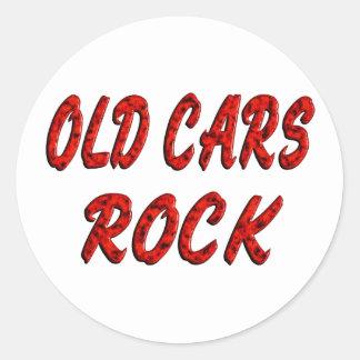 OLD CARS ROCK ROUND STICKER