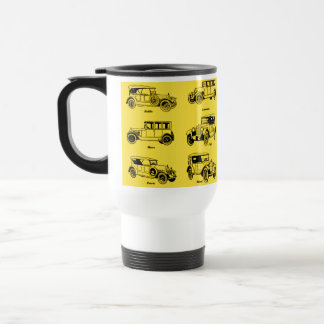 old cars yellow bottom retro red label stainless steel travel mug