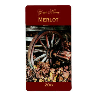 Old cart wheel red wine label