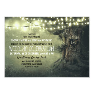 old carved tree twinkle lights rustic wedding card