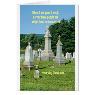 Old Cemetary Monuments Life Quote Card