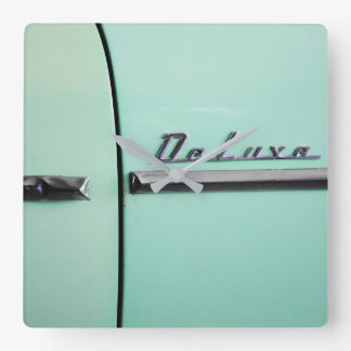 Old Chevrolet Deluxe Square Wall Clock