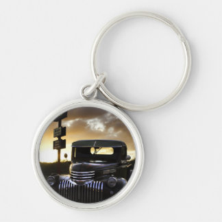 Old Chevy Truck  Keychain/Keyring Silver-Colored Round Key Ring