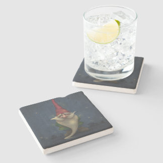Old Christmas Gnome Stone Coaster