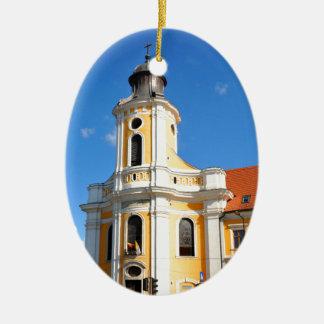 Old church in Cluj Napoca, Romania Ceramic Oval Decoration