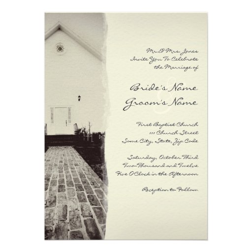 Old Church Vintage Wedding Invitation 5x7