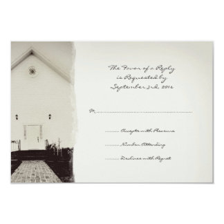 Old Church Vintage Wedding RSVP 9 Cm X 13 Cm Invitation Card