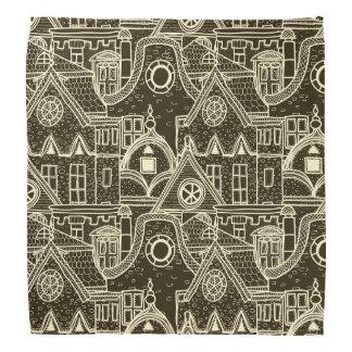Old City sketchy pattern on dark background Bandana