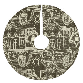 Old City sketchy pattern on dark background Brushed Polyester Tree Skirt