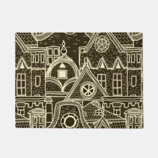 Old City sketchy pattern on dark background Doormat