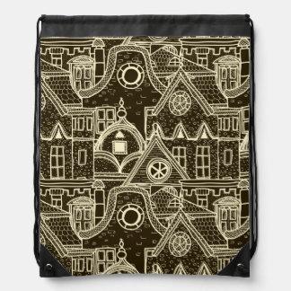 Old City sketchy pattern on dark background Drawstring Bag