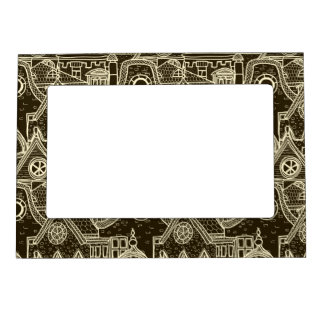Old City sketchy pattern on dark background Magnetic Picture Frame
