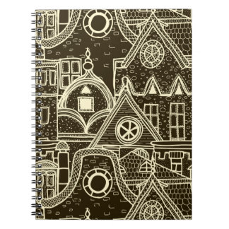 Old City sketchy pattern on dark background Notebooks