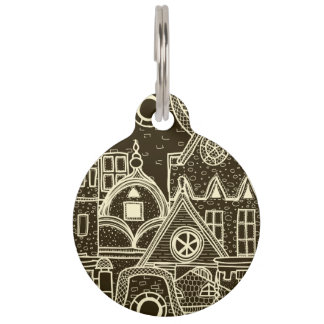 Old City sketchy pattern on dark background Pet Name Tag