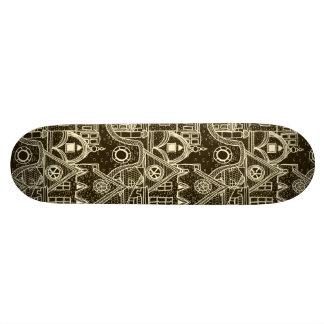 Old City sketchy pattern on dark background Skate Deck