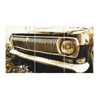 Old Classic Car Headlights Canvas Print