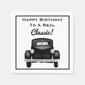Old Classic Car Over the Hill Happy Birthday Paper Napkin