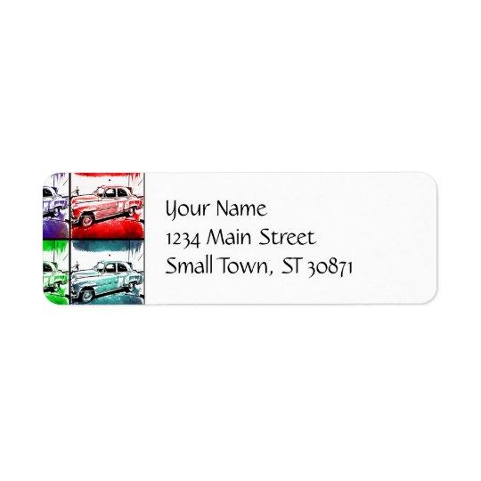 Old Classic Car Watercolor Pop Art Print Return Address Label