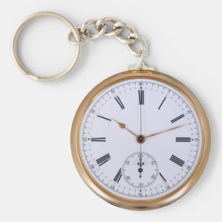 Old Clock Antique Pocket Watch Basic Round Button Key Ring