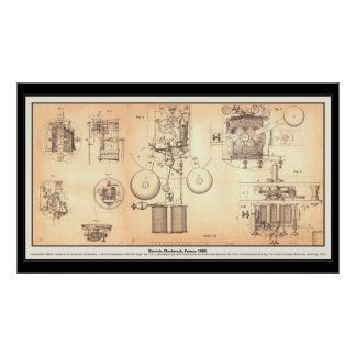 Old Clockwork Diagram Poster