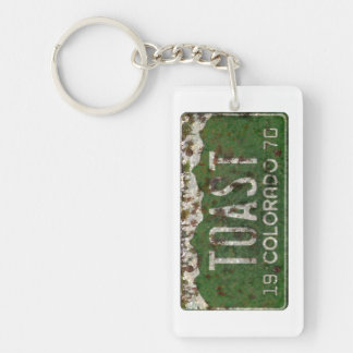 Old Colorado License Plate Toasted Autos Keychain